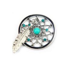 Munt voor Muntketting Dromenvanger smal turquoise zilver