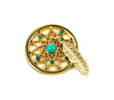 Munt voor Muntketting Dromenvanger smal turquoise goud