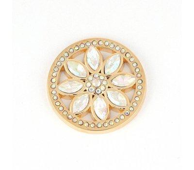Munt voor Muntketting Beautiful rose smal witte crystals goud