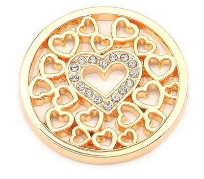 Munt voor Muntketting Love hearts goud