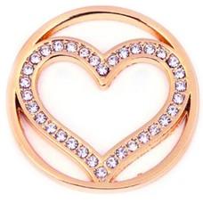 Munt voor Muntketting Big heart crystals rose goud