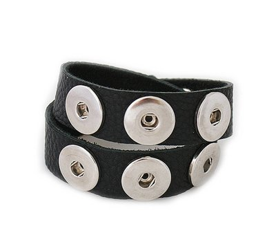 Clicks Sieraden Clicks armband nubuck leer dubbel zwart