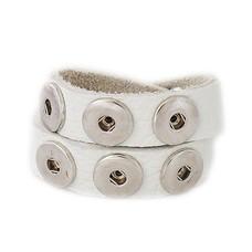 Clicks Sieraden Clicks armband nubuck leer dubbel wit