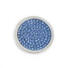 Munt voor Muntketting Full crystals licht blauw smal zilver