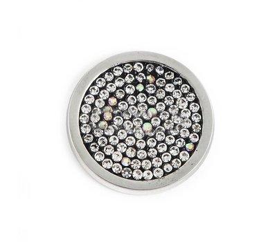 Munt voor Muntketting Full crystals wit zwart smal zilver