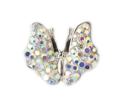 Clicks en Chunks | Click vlinder witte crystals clicks sieraden
