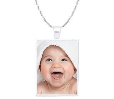 Ketting met foto Ketting met foto hanger rechthoek zilver
