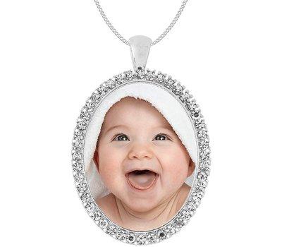 Ketting met foto Ketting met foto hanger ovaal crystals zilver
