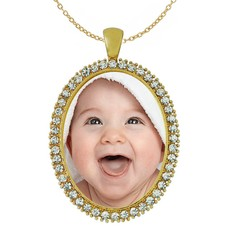 Ketting met foto Ketting met foto hanger ovaal crystals goud