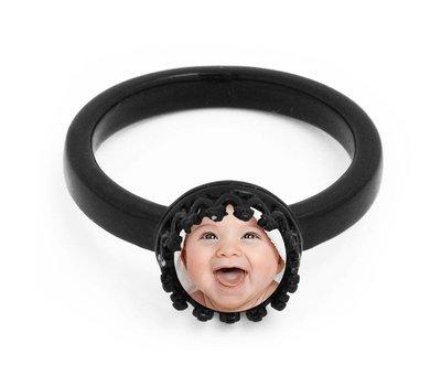 Foto Sieraad Ring met Foto Zwart 18mm