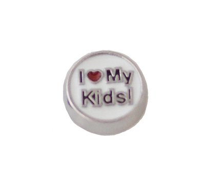 Floating Charms Floating locket charm i love my kids zilver rond