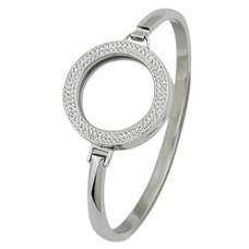 Armband voor munten Armband Zilver smal met strass van Roestvrij Staal