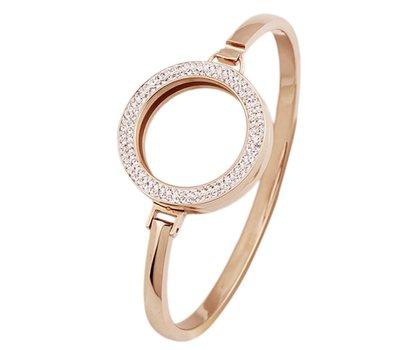 Armband voor munten Armband Rose goud smal met strass van Roestvrij Staal