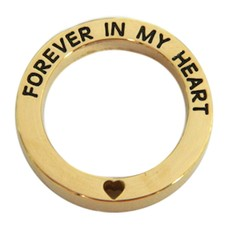 Floating locket  discs Memory locket open disk forever in my heart goud large