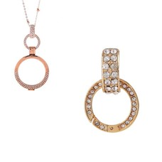 Accessoires Muntketting Spring clasp dangle goud full strass