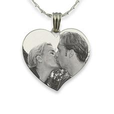 Graveer Ketting Foto en of tekst graveren op foto hanger gebogen hart zilver inclusief ketting