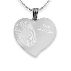 Vingerafdruk Sieraad Vingerafdruk graveren op hanger gebogen hart zilver inclusief ketting
