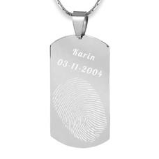 Vingerafdruk Sieraad Vingerafdruk graveren op hanger medium dogtag zilver inclusief ketting