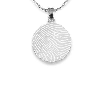 Vingerafdruk Sieraad Vingerafdruk graveren op hanger rond zilver inclusief ketting