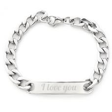 Armband Graveren Tekst graveren op Naam Armband Medium Zilver van Roestvrij staal