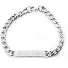 Graveer Sieraad Tekst graveren op Naam Armband Smal Zilver van Roestvrij staal