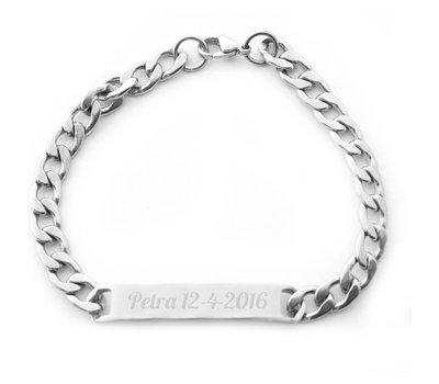 Armband Graveren Tekst graveren op Naam Armband Smal Zilver van Roestvrij staal