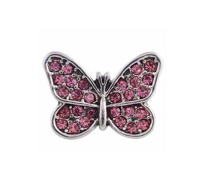 Clicks en Chunks | Click vlinder roze strass voor clicks sieraden