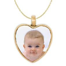 Ketting met foto Ketting met foto hanger hart antiek goud