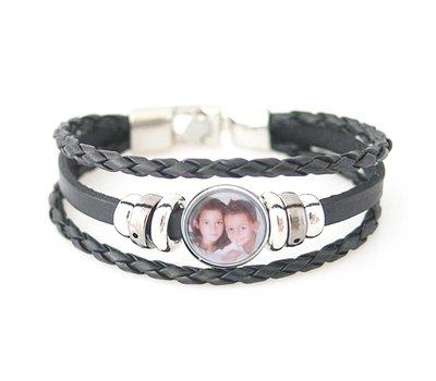 Foto Armbanden Clicks Foto triple armband zwart met 1 foto