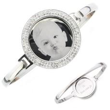 Graveer Armbanden Armband met graveer munt smal zilver met strass