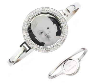 Armband met foto graveren Armband met foto graveren zilver strass