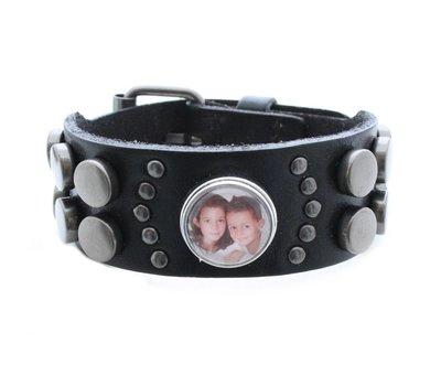 Foto Armbanden Clicks heren foto armband leer zwart met 1 foto