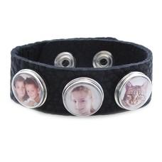 VerjaardagsCadeau Clicks Foto armband zwart met 3 foto's