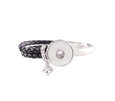 Clicks Sieraden Clicks knoop armband leer zwart deluxe