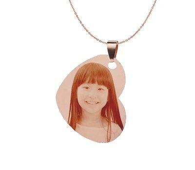 Graveer Ketting Foto en of tekst graveren op foto hanger gekanteld hart rosé goud inclusief ketting