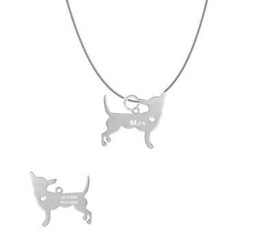 Dieren Sieraden Graveerbare honden ketting Chihuahua