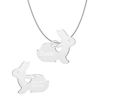 Dieren Sieraden Graveerbare konijnen ketting konijntje