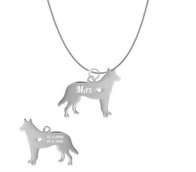 Dieren Sieraden Graveerbare honden ketting Mechelse Herder
