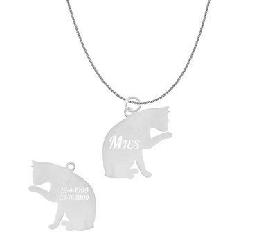 Dieren Sieraden Graveerbare katten ketting kat likkend