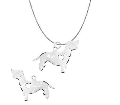 Dieren Sieraden Graveerbare honden ketting Basset Hound