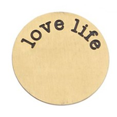 Floating locket  discs Memory locket disk Love Life goud XL