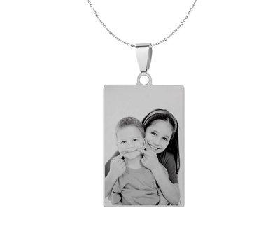 Graveer Ketting Foto en of tekst graveren op foto hanger rechthoek zilver inclusief ketting
