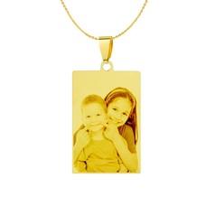 Graveer Ketting Foto en of tekst graveren op foto hanger rechthoek goud inclusief ketting
