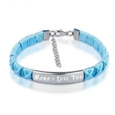 Armband Graveren Tekst graveren op gevlochten Naam Armband blauw