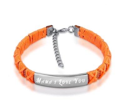 Armband met Naam Armband graveren dames oranje