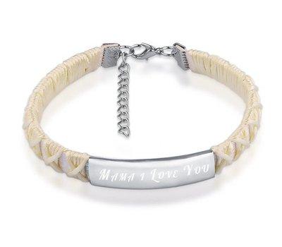Armband Graveren Tekst graveren op gevlochten Naam Armband wit