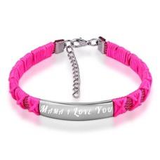 Graveer Sieraad Tekst graveren op gevlochten Naam Armband donker roze
