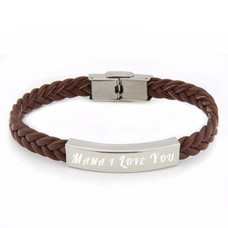 Armband Graveren Tekst graveren op gevlochten leren Naam Armband bruin