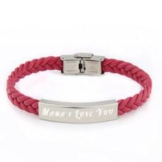 Armband Graveren Tekst graveren op gevlochten leren Naam Armband roze