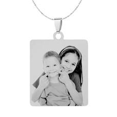 Graveer Sieraad Foto en of tekst graveren op foto hanger vierhoek zilver inclusief ketting
